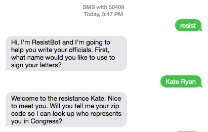 Sample text between a sender and Resistbot