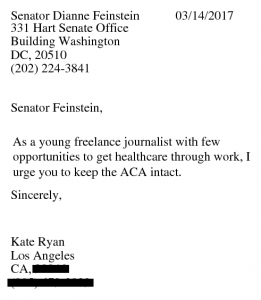Sample letter to a senator written and faxed using Resistbot