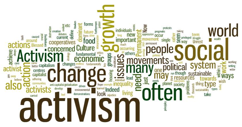 Graphic word collage featuring words like activism, change, people, growth