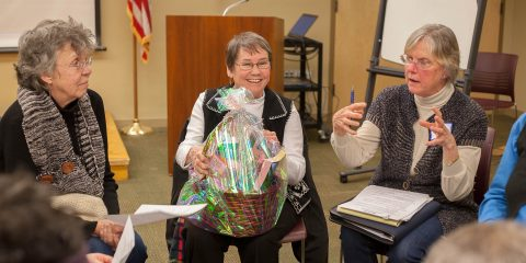 Photo of raffle basket winner