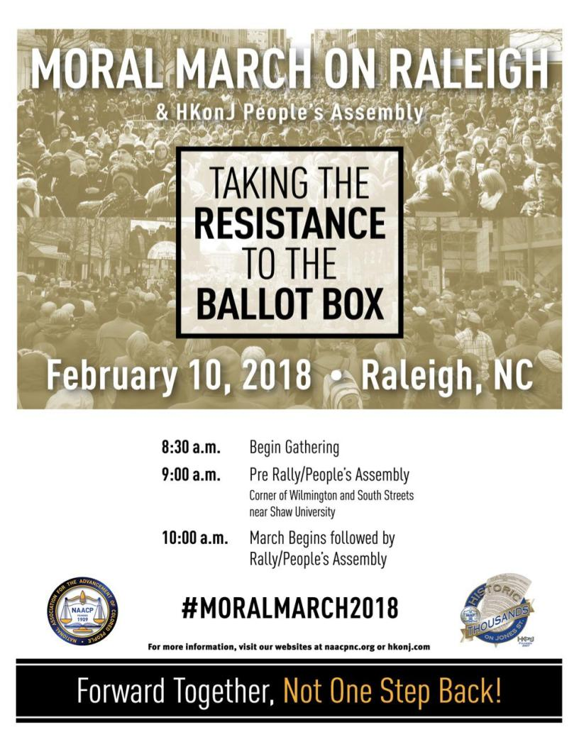 Flier for the Feb 10 2018 Moral March on Raleigh event