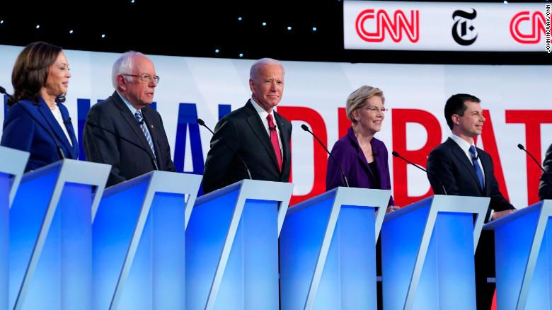 Photo of candidates in Democratic Primary Debate