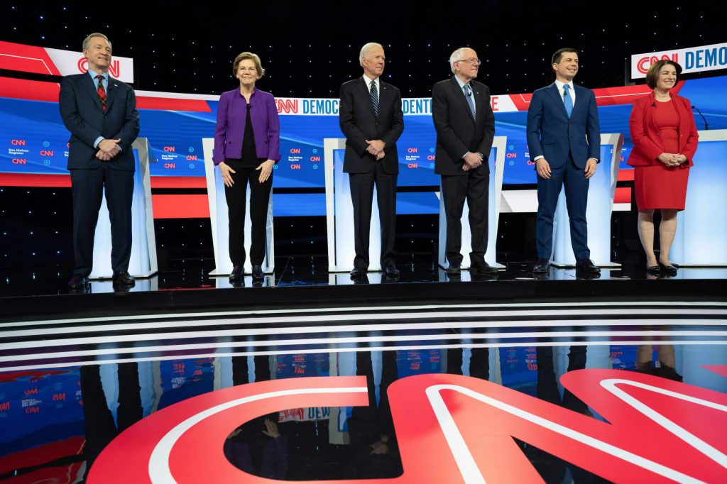Photo of Democratic Presidential Primary candidates on debate stage in January 2020