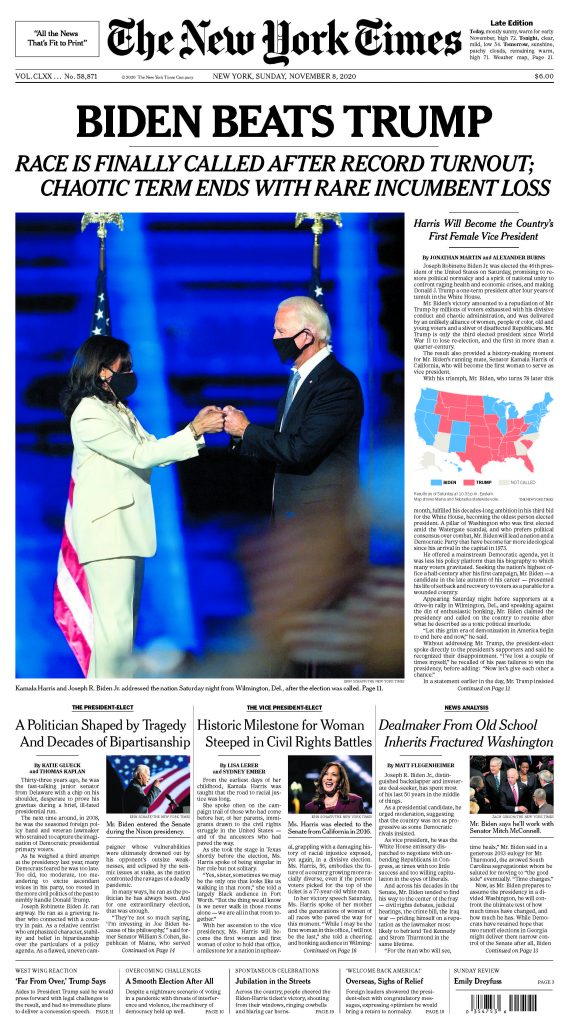 Scan of New York Times front page on Sunday November 8, 2020